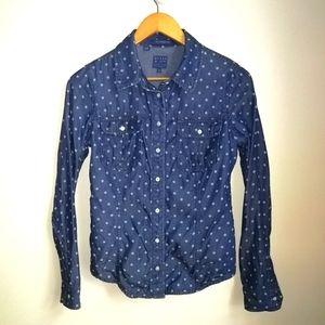3/30$ GUESS Tencel Chambray Dots Natalie Shirt